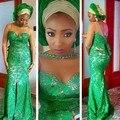 2017 Estilos Mangas Meia Vestido de Noite O Pescoço Cristais Rendas Nigeriano Aso Ebi Festa Vestidos Frente Dividir Sereia Vestidos de Noite