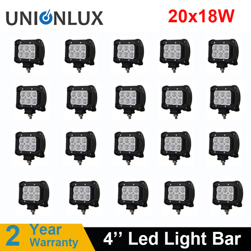 20pcs led light bar 18W Work Driving Lamp 4 Motorcycle Tractor Boat Off Road 4WD 4x4
