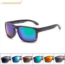 Classic Mens Sunglasses UV400 Vintage Sun Glasses For Driving Black Frames Wood Grain Men Rivets Eyewear LongKeeper
