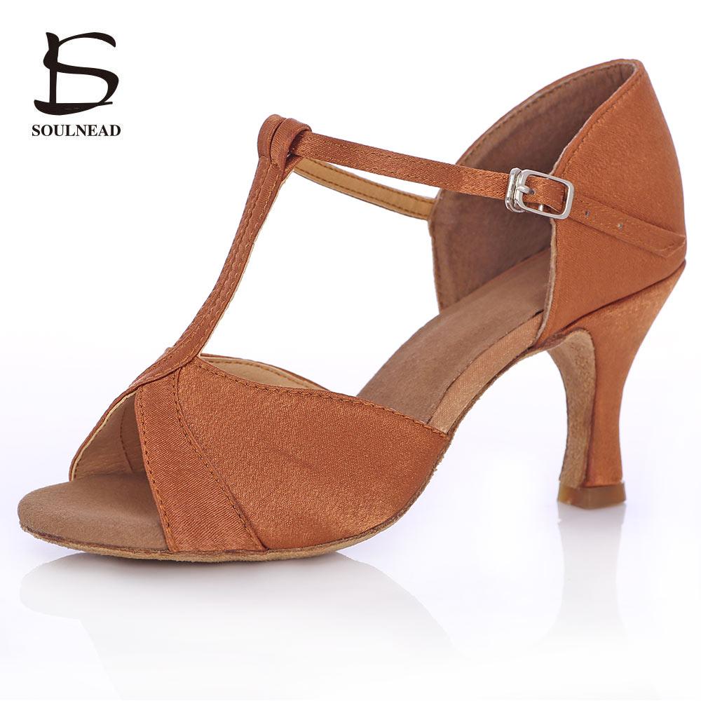 Kvinnors latinska dansskor Deep Skin Color Heels Balsal Salsa Tango Ladies Dansskor Skor 5 / 7cm Heel Ballroom Dance Shoes