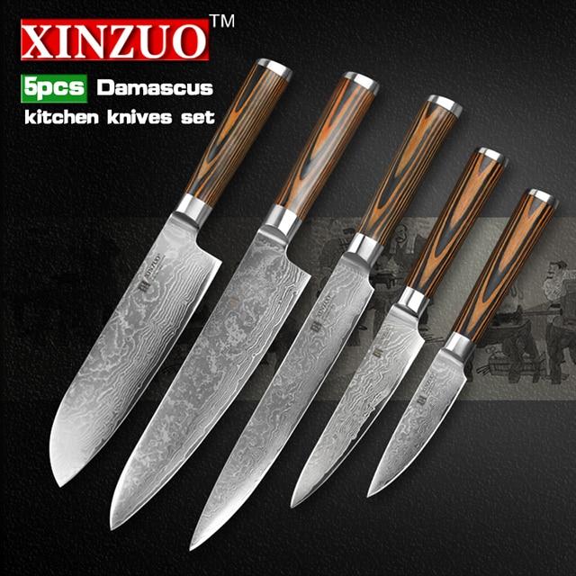 5 pcs kitchen font b knife b font set 73 layer Japanese VG10 Damascus kitchen font