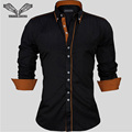 Men Dress Shirts Europe Size New Arrivals Stylish Slim Fit Male Shirt Solid Long Sleeve British Style Cotton Men's Shirt N332