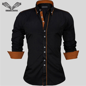 Image 2 - Visada Jauna Mannen Shirts Europa Size Nieuwkomers Slim Fit Man Shirt Solid Lange Mouwen Britse Stijl Katoen Mannen shirt Kantoor