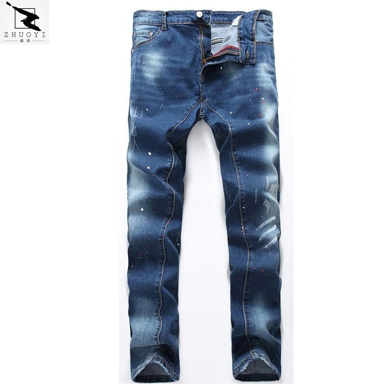ФОТО High quality men's jeans new brand Slim stretch jeans men Casual straight hole jeans men denim trousers ripped jeans
