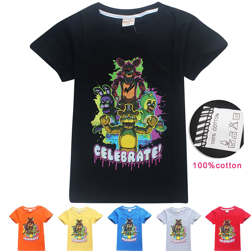 Child Boys Summer Funny Cheap T-shirt Five Nights At Freddy Game Cool Black Grey Blue Graphic Cotton Tops Tees For Teenage 6-14T
