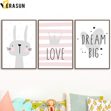 VERASUN Rabbit Crown Heart Wall Art Print Canvas Painting Posters And Prints Animal Wall Pictures Nordic