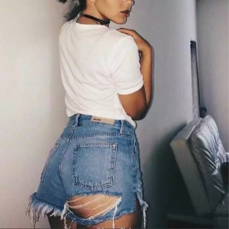 Pottis  2018 Summer Hole Denim Shorts Sexy Women Hollow Out Ripped Jeans Shorts Casual Pockets High Waist Skinny Denim Shorts