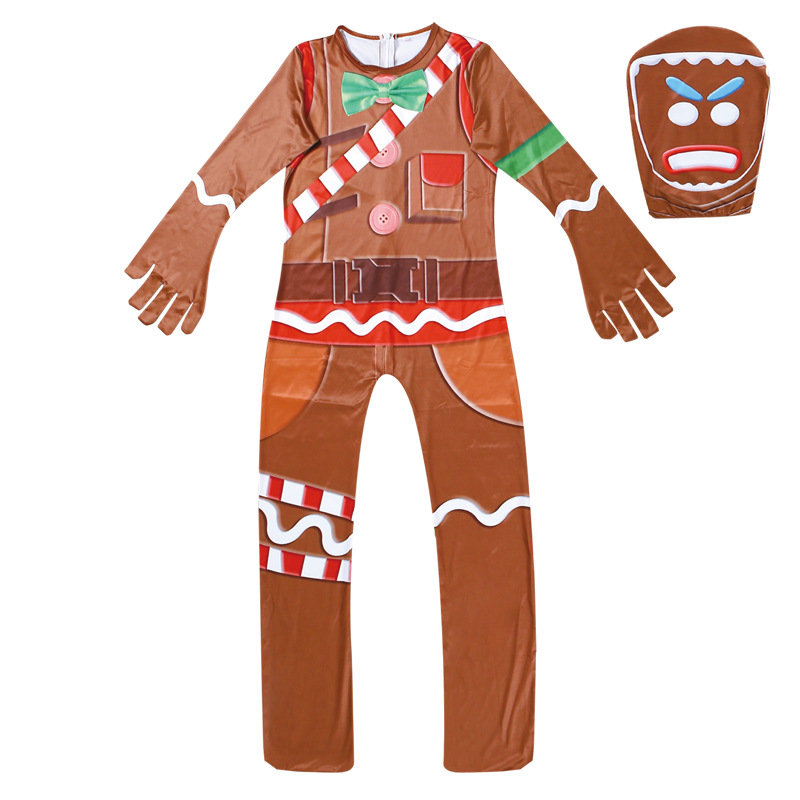 Childrens Gingerbread Man Cosplay Costume Party Halloween Christmas For Kids Brithday Gift Boys Fancy Jumpsuits Mask One-piece Home