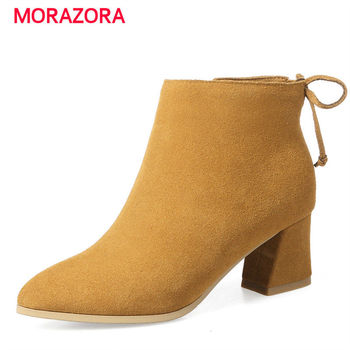 MORAZORA 2018 new autumn winter pointed toe ankle boots for women  square heel zipper boots high heel cow suede leather boots