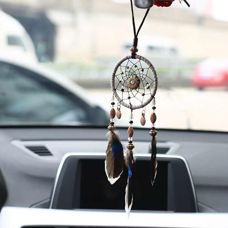 Mini Car Dream Catcher Small Shells Beaded Natural Feathers Handcraft Chic Hanging Ornaments Bedroom Wall Decor Native Ring