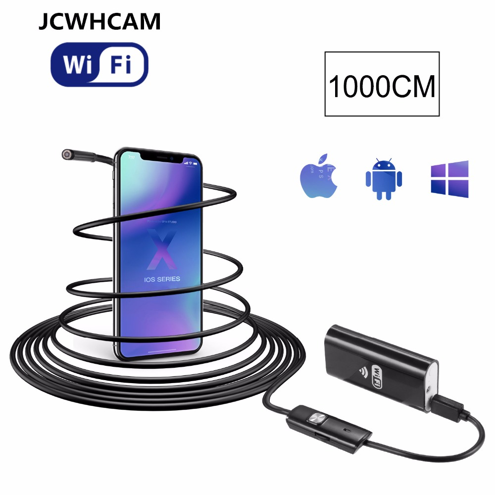 JCWHCAM Best WiFi Endoscope iOS Android system 10M cable 8mm HD 720P Borescope mini IP Camera Snake Camera Car Inspection mool 10m wifi usb waterproof borescope hd endoscope inspection camera for android ios