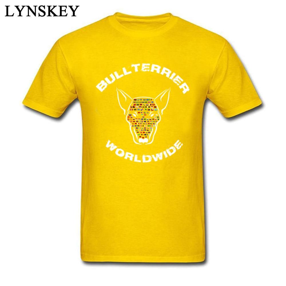 Unique 2017 New Bullterrier Worldwide Flags Print Men Tee Shirt Pure Cotton T-shirt O Neck Short Sleeve Tops