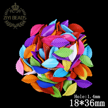 Fashion Multi Colors Cute Leaves Shape Acrylic Beads Fit Kids Free Shipping 45Pcs/Lot 18*36MM Wholesale