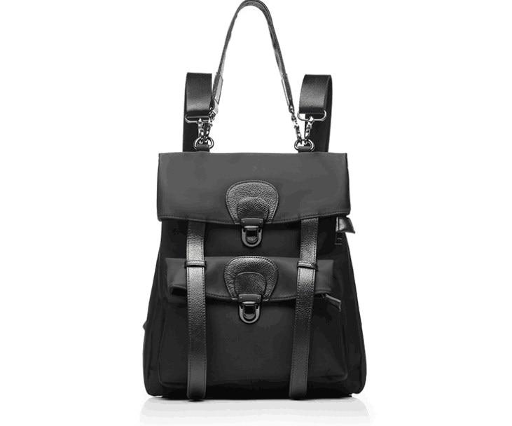 Casual split leather nylon women large rucksack outdoor travel bag