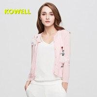 Hot Venda Nova Mulheres Blusas Primavera Curto Cardigan Outono Camisola Coreana Magro Impressão Cardigans de Malha Outwear Casaco Senhora Do Escritório
