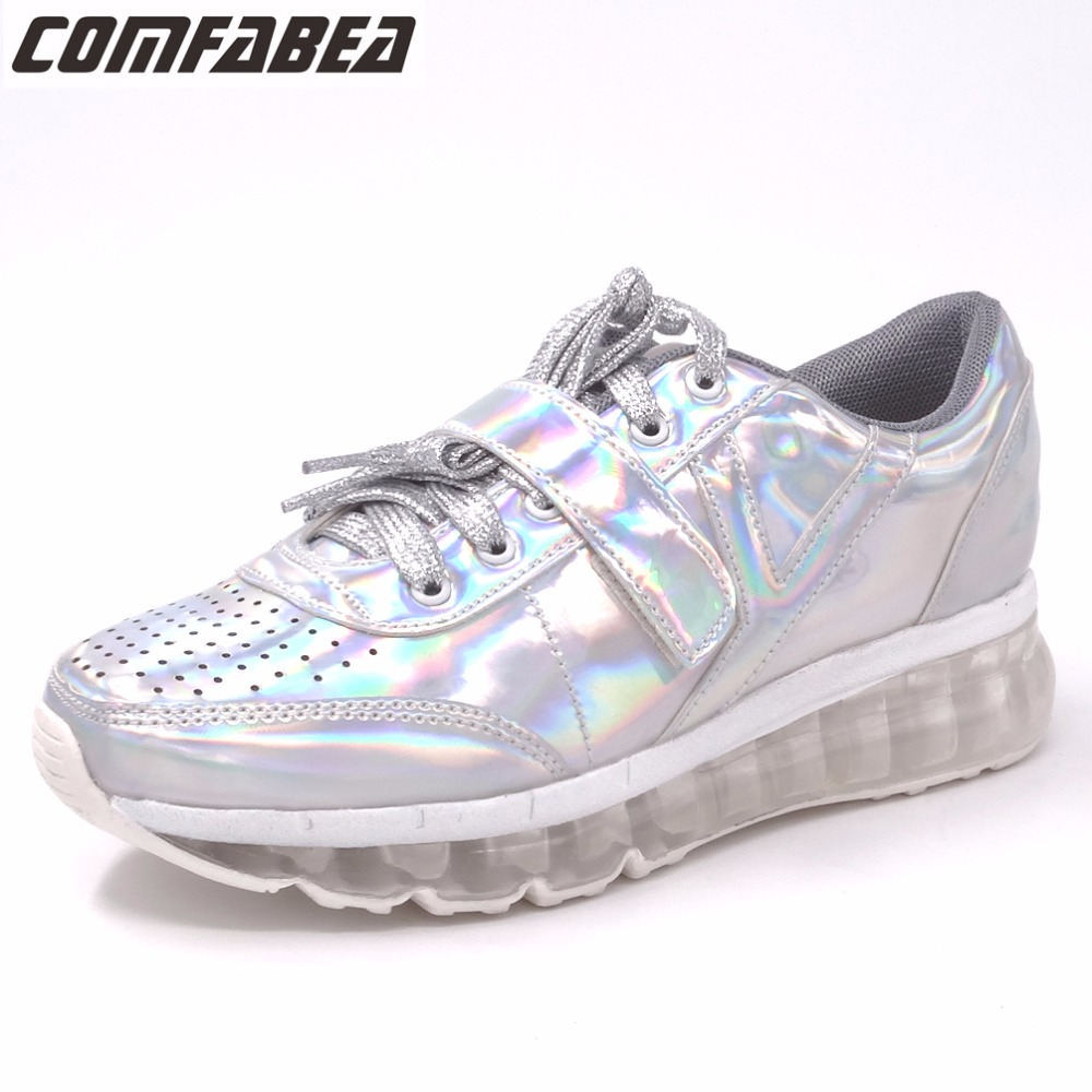 COMFABEA 2017 Autumn Platform Shoes Women Casual Shoes Silver Creepers Flat Heel shoes Fashion ladies Harajuku Shoes phyanic 2017 gladiator sandals gold silver shoes woman summer platform wedges glitters creepers casual women shoes phy3323