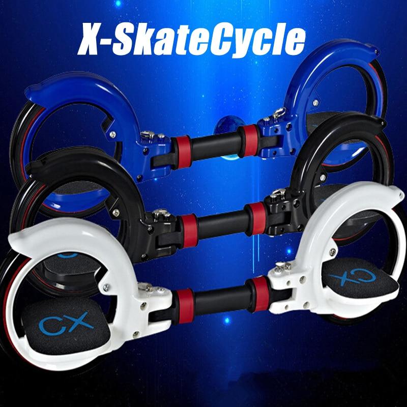 все цены на Nieuwe X8 Skatecycle Upgrade 2 Twee Wielen Skate Board Twee Onderdelen Roller Opvouwbare Drift Skateboard stunt scooter voor Ext онлайн