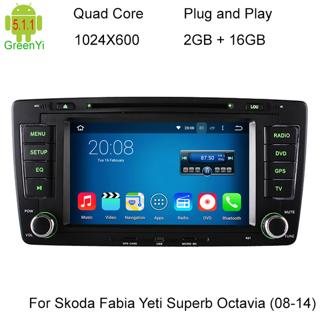 1024X600 Quad Core Android 5.1.1 Car DVD Player GPS Navigation For Skoda Octavia 2009 2010 2011 2012 2013 a5 yeti Radio Stereo