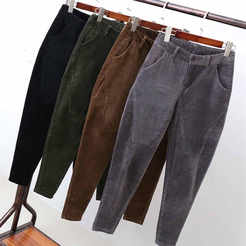 a4369af94e6 Corduroy Harem Pants Female Stripe Velvet High Waist Pants Plus Size 3XL  Pantalon Femme Casual High