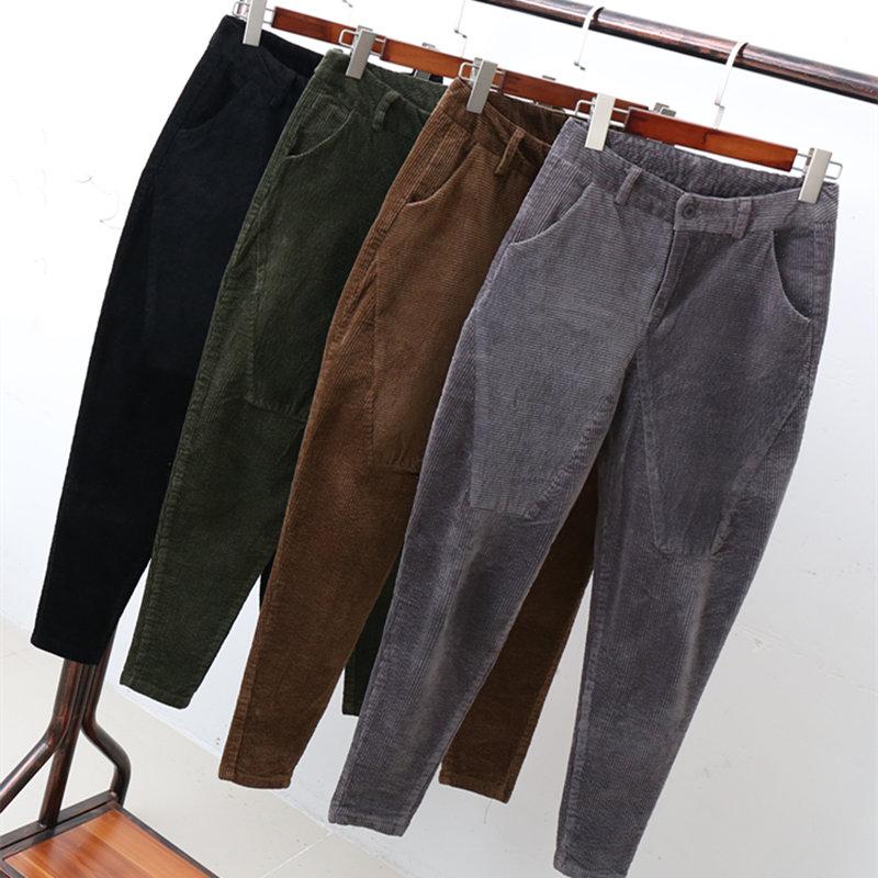 コーデュロイハーレムパンツ女性ストライプのベルベットのハイウエストのズボンプラスサイズ 3XL パンタロンカジュアルハイウエストズボン女性 C4654  グループ上の レディース衣服 からの パンツ & カプリパンツ の中 1