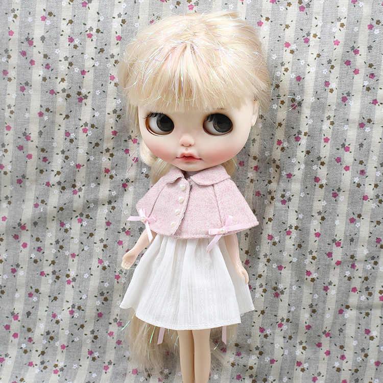 DBS blyth шарнир Кукла игрушка наряд ледяная одежда licca тело розовый сладкий плащ и белое платье
