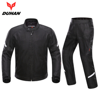 DUHAN Spring Summer Breathable Men Motorcycle Jacket Suit Protective Gear Moto Jacket + Motorcycle Pants Set Motorcycle Clothing