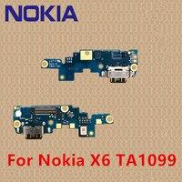 100% original para nokia x6 ta1099 porto de carregamento pcb placa usb doca de carregamento para nokia x7 6.1 7. 1 7 plus para nokia 6 7 8