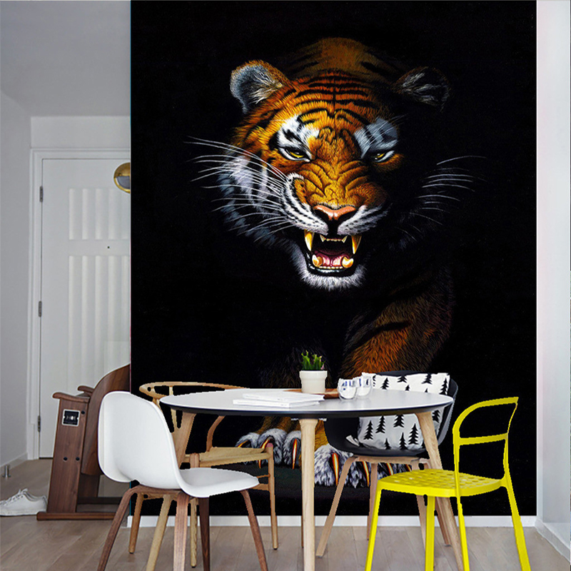 Custom 3D Mural Wallpaper Modern Simple Animal Tiger Photo Wall Papers Restaurant Living Room Entrance Backdrop 3D Wall Painting