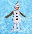 OLAF Traje Cosplay CRIANÇA 2015 Fantástico 3-pcs do Boneco de Pelúcia para As Crianças Partido Do Carnaval de Halloween