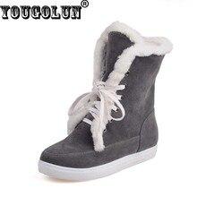 Yougolun invierno mujeres nieve botas botines lace up largo felpa zapatos planos # z-100