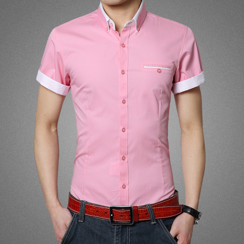 2015 Men's Fashion short sleeved Shirt Solid Colour Turn down ...
