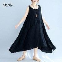 Women Cotton Tank Dress Plus Size Black Sundress Sleeveless Summer Beach Dress Women Big Size Loose Long Dress 4XL 5XL 6XL 2019