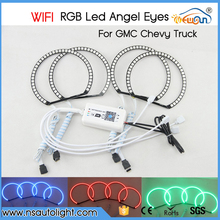 WIFI control RGB Color Change RGB LED Halo Ring Headlight Kit for GMC Chevy Truck