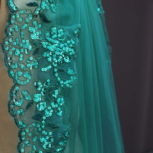 Image 4 - New 0.9 Meters One Layer Lace Edge Green Tulle Wedding Veil With Comb
