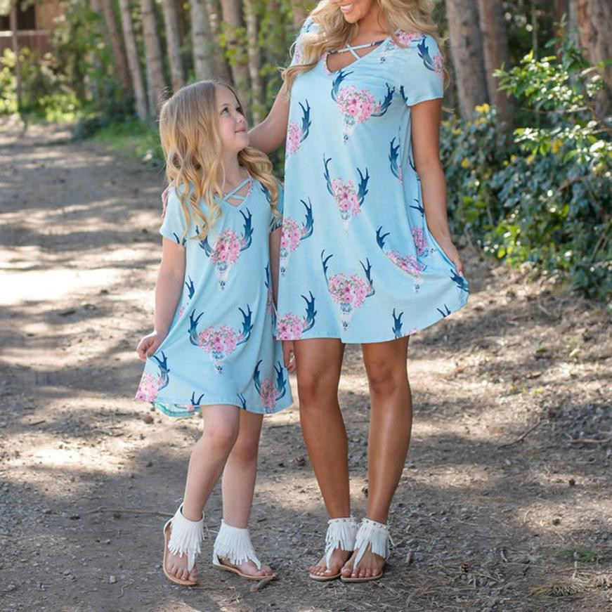 Tops & Tees Mother Daughter Dresses Printed With Bow Off Shoulder Sleeveless Tank Family Matching Clothes Outfits Look Vestido Playa Mujer