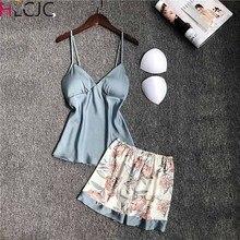 Sleep Lounge Women Pajamas Set With Shorts Sexy Satin Pyjama