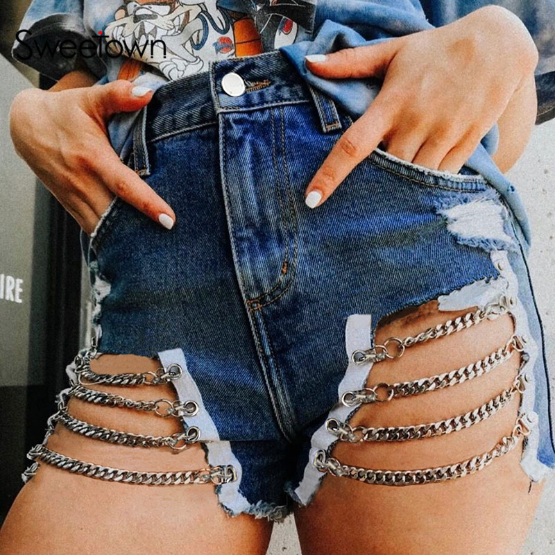 Sweetown Blue Punk Rave Denim Shorts With Metal Chains Hollow Out Sexy High Waist Micro Booty Shorts Women Streetwear Summer