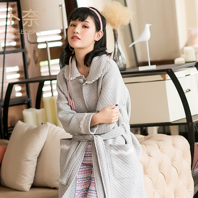 1e5d46a4fb Grlbobra Winter new cotton long sleeved conjoined female Japanese plain  plain lace to keep warm ropa mujer pajamas-in Robes from Women s Clothing    ...