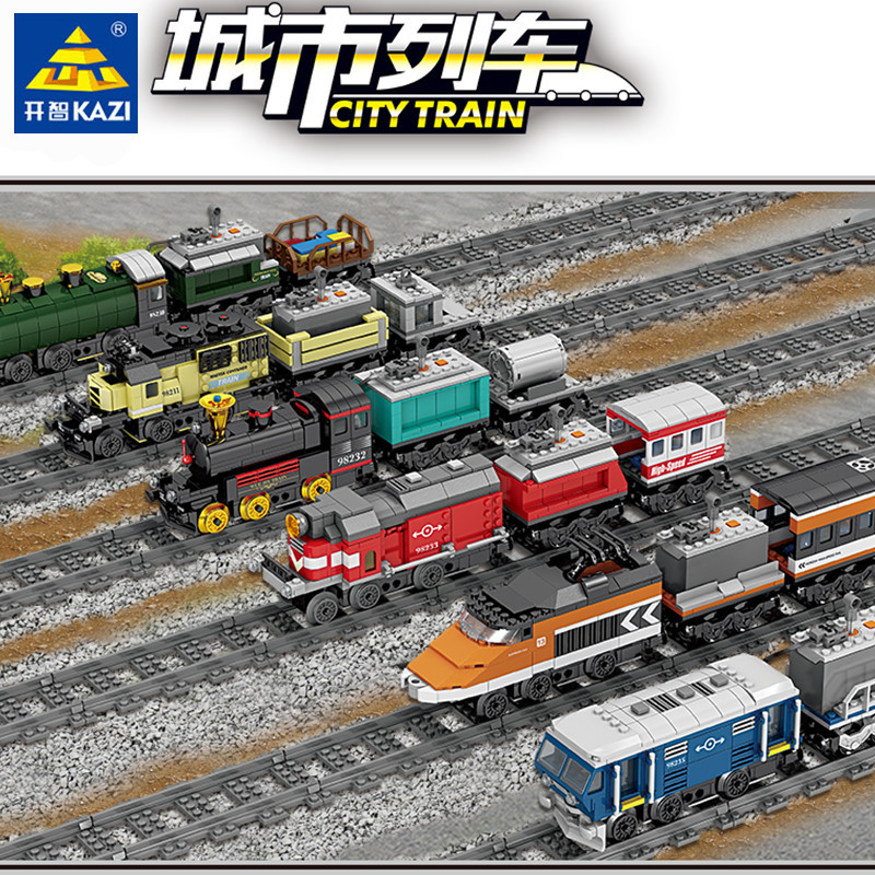 Technic City Train Battery Powered Electric High-speed Rail Building Blocks Compatible LegoINGs Creator Bricks Toys For Children