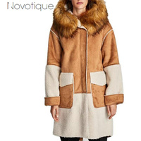 2018 Women Spring Down Valentine S Vintage Padded Long Jacket Splicing Chamois Fur Collar Faux Suede