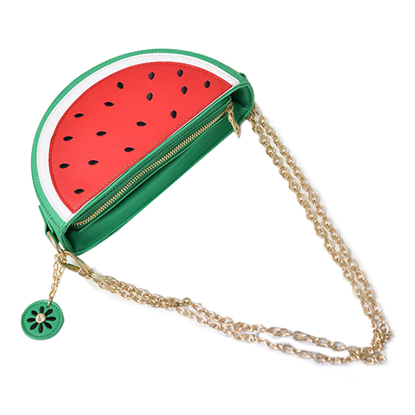 Creative Personality Female Bag New Summer Watermelon Fruit Half Bag Aslant The One-shoulder Mini Chain Bag(Red)