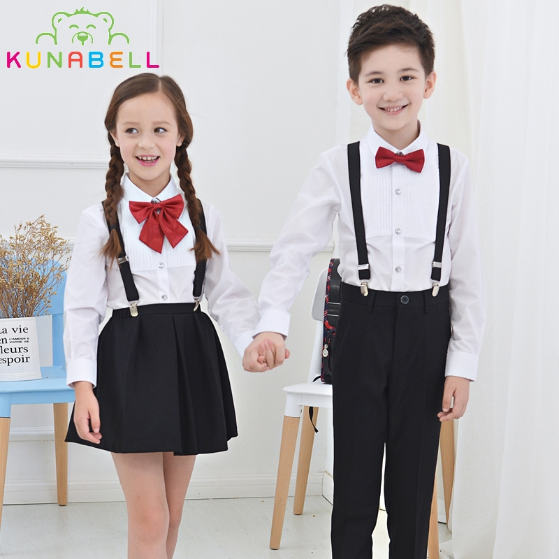 Girls Ceremonial Wedding Skirt Shirts Set Bowtie Brand Formal Boys Birthday Dress School Performance Uniform Children Suit F47 kids formal suit flower girls boys school uniforms set shirt sweater pant tutu skirt bowtie set performing costume a27
