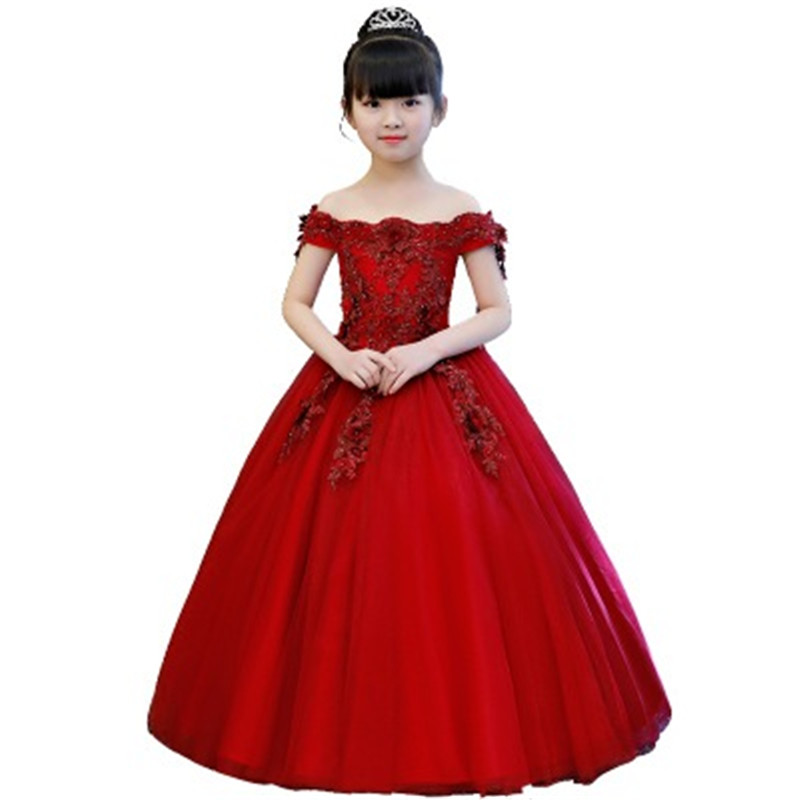 Elegent Children Girls Flower Wedding Party Birthday Dresses Kids Bead Appliques Party Tulle Princess First Communion Gown H04 koy h04 k61