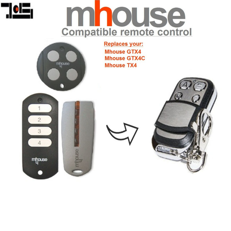 Garage Door Remote For MHouse GTX4, GTX4C,TX4 Replacement Remote Control 433.92mhz  Transmitter