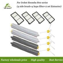 2x Tangle Free Detriti Estrattore & Hepa Filtri e Spazzola Laterale Kit per iRobot Roomba serie 800 900 870 880 980 Parti di Pulizia di Vuoto