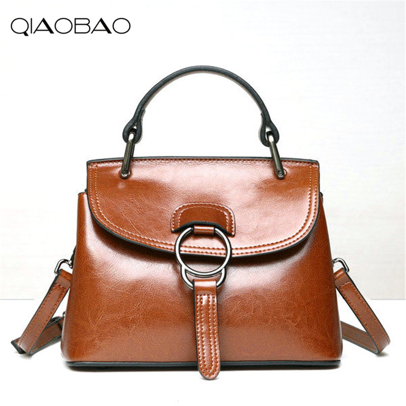QIAOBAO Famous New Genuine Leather Handbags Shoulder Oblique Cross HandBag Oil Wax Cowhide Shell Bag men oil wax genuine leather cowhide handbag single shoulder messenger crossbody bag real cowhide purse famous male tote handbags