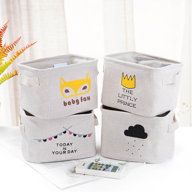 Desktop Cotton Linen Storage Basket Sundries Organizer Cartoon Cosmetic Toy Storage Bag Storage Box Cloth Small Item Storage Box