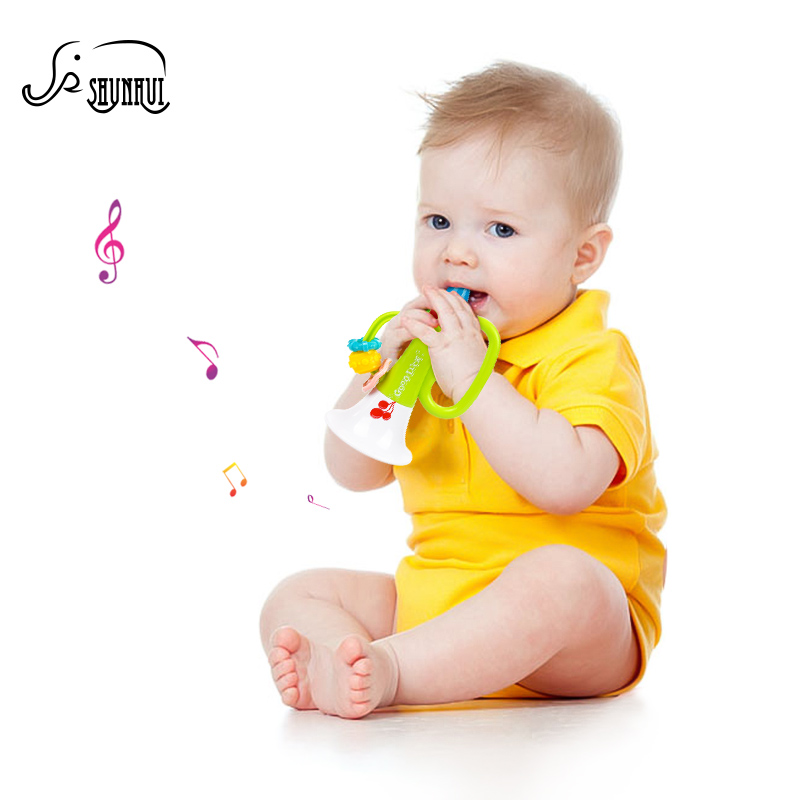 Vaikai mieli plastikiniai trimitai kūdikių muzikos instrumentų žaislai SHUNHUI spalvingi vingiuotieji Bugle Hooter Bell edukaciniai žaislai vaikams