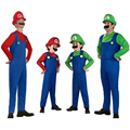 Super Mario Brother Masquerade halloween Party Onesie cloth cosplay adult costume kit with hat beard Super Mario Onesie Jumpsuit