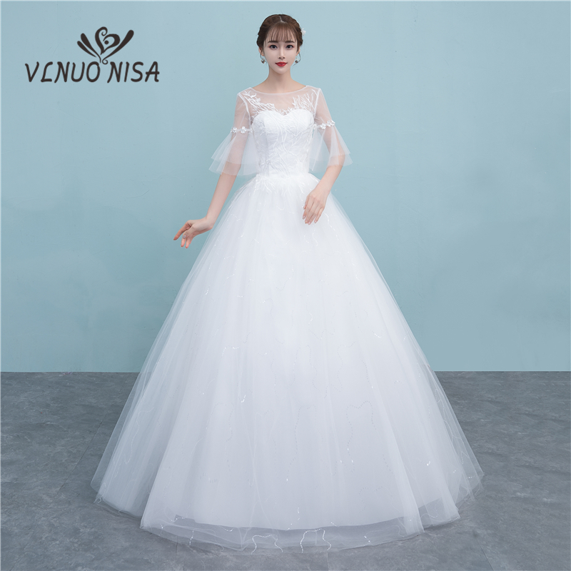 New Illusion Backless Wedding Dresses Delicate Sweetheart 3D Flowers Flare Sleeve Sequin Bridal Dresses Plus Size Cheap Gown